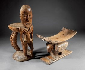 Two Tribal Carved Wood Stools