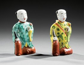 Chinese Polychrome Porcelain Joss Stick Holders