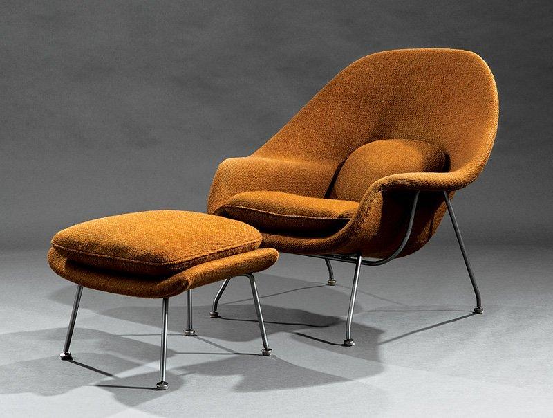"Eero Saarinen ""Womb"" Lounge Chair and Ottoman"