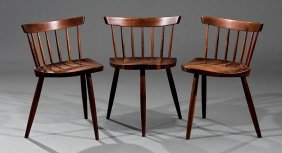 Three George Nakashima Walnut Mira Chairs