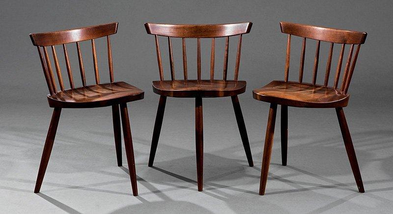 Three George Nakashima Walnut Mira Chairs