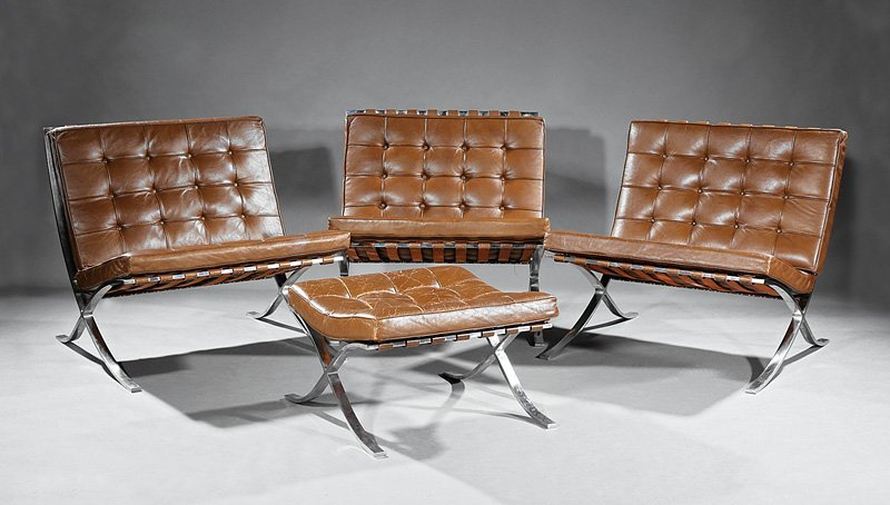 Three Barcelona Chairs and an Ottoman for Knoll