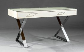Milo Baughman-style Campaign Desk And Chair