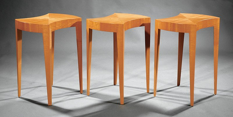 Knoll International Modern Tiger Maple Side Tables