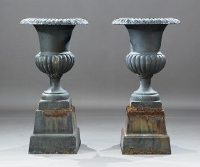 Pair Of American Cast Iron Campagna Urns