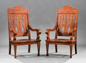 Pair Of Arts And Crafts Cherrywood Armchairs