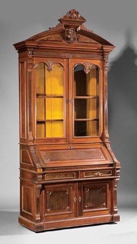 Carved And Burled Walnut Secretary Bookcase