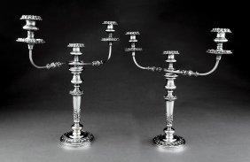 Pair Ofregency-style Silverplate Candelabra