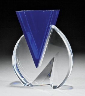 "Baccarat ""vecteur"" Blue And Clear Glass Vase"