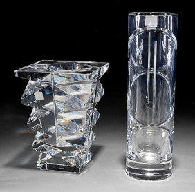 """Two Baccarat """"intangible"""" And """"totem"""" Glass Vases"""