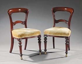 Pair Ofenglish Carved Mahogany Side Chairs