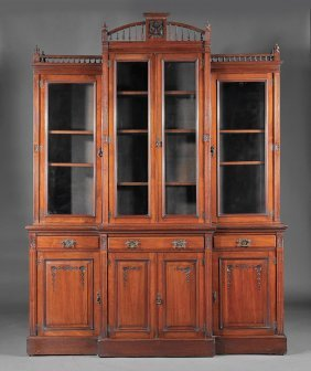 Aesthetic Carved Cherrywood Breakfront Bookcase