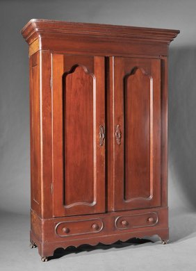 American Late Classical Carved Mahogany Armoire