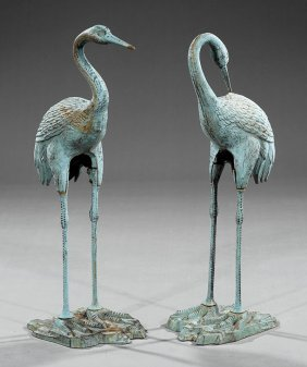 Pair Of Patinated Cast Iron Egrets