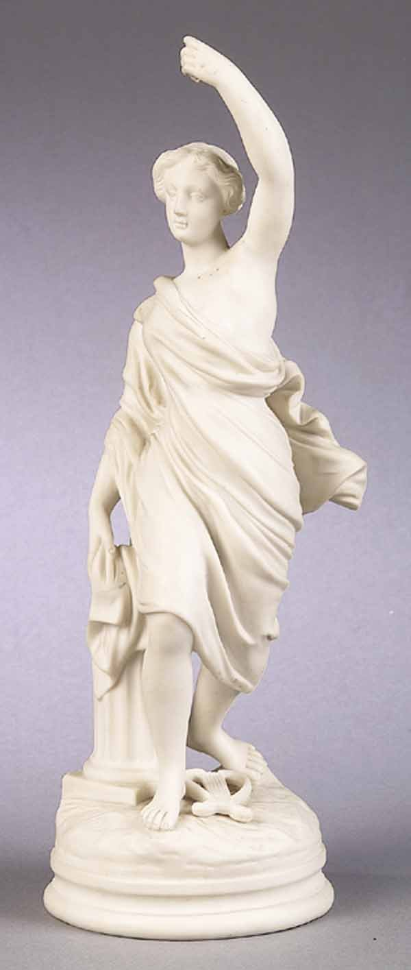 English Parian Figure of a Classical Maiden