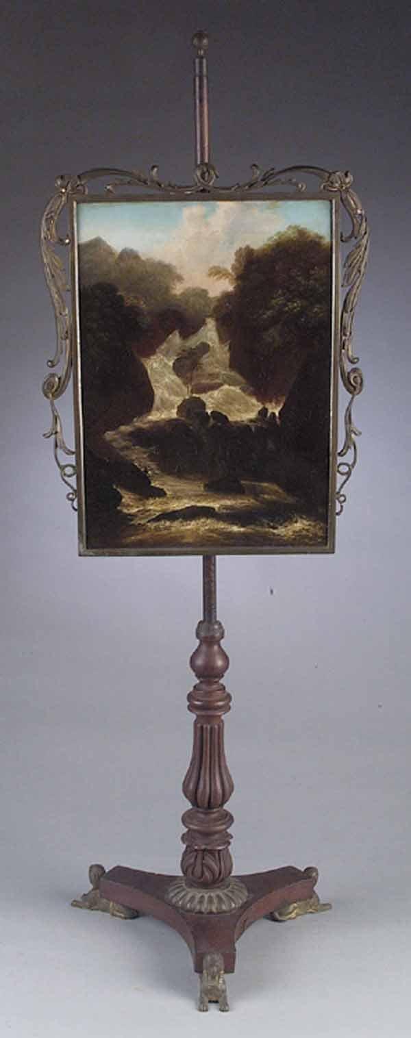 William IV Brass and Mahogany Firescreen