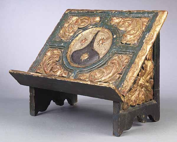 19th c., Italian Carved and Painted Pine Bookst