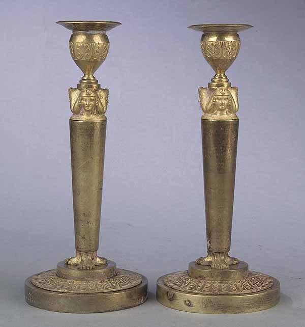 Egyptian Revival Bronze Candlesticks