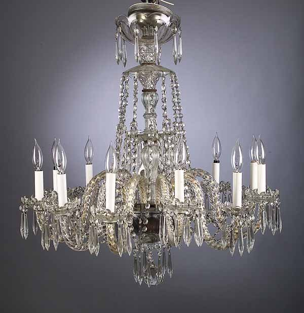 Baccarat-Style Cut Crystal Chandelier