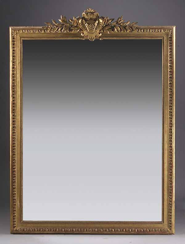 Large Antique Giltwood Overmantel Mirror