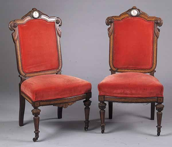 Carved and Incised Rosewood Sidechairs, New York