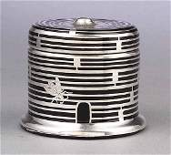 Beehive-Form Honey Jar, Rockwell Silver Company