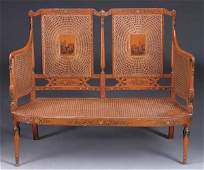 George III Style Painted and Caned Settee