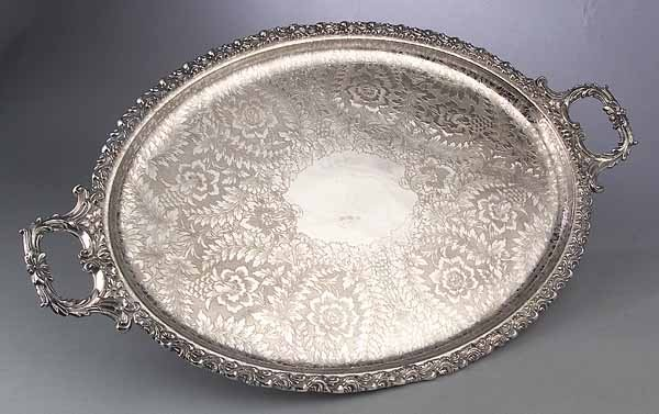 English Silverplate Serving Tray, marked B & T