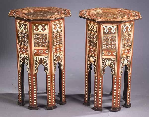 Pair of Moorish Inlaid Hardwood Side Tables