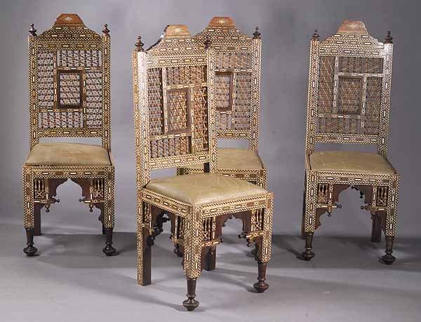 Set of Four Moorish Inlaid Hardwood Side Chairs