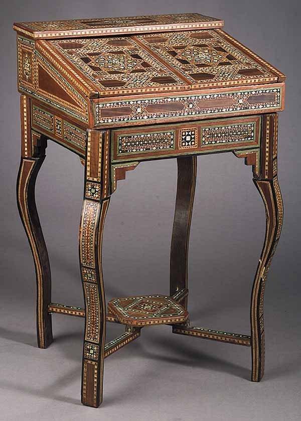 Moorish Inlaid Exotic Woods Writing Desk