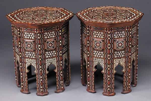 Pair of Moorish Inlaid Hardwood Tabourots
