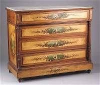 Continental Painted Pine and Marble Top Commode