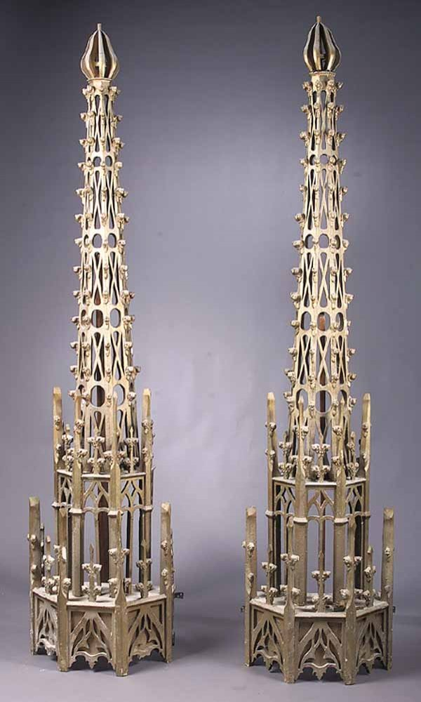 Pair of Gothic Tracery Steeple Spires