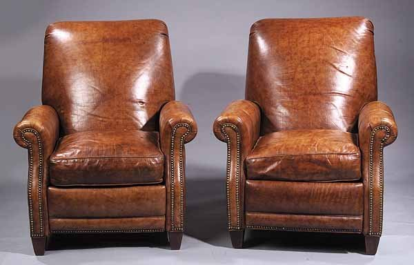 """Pair of """"Alligator"""" Leather Recliners Club Chairs"""