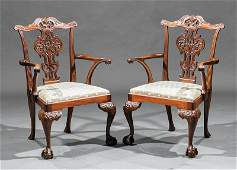Pair of Georgian-Style Carved Mahogany Armchairs
