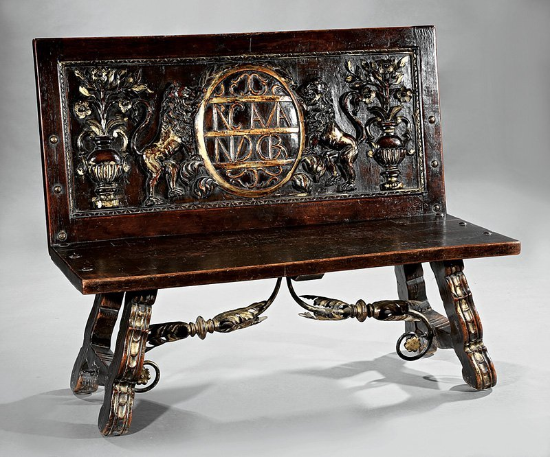 Italian Carved Walnut, Parcel Gilt, Iron Hall Bench