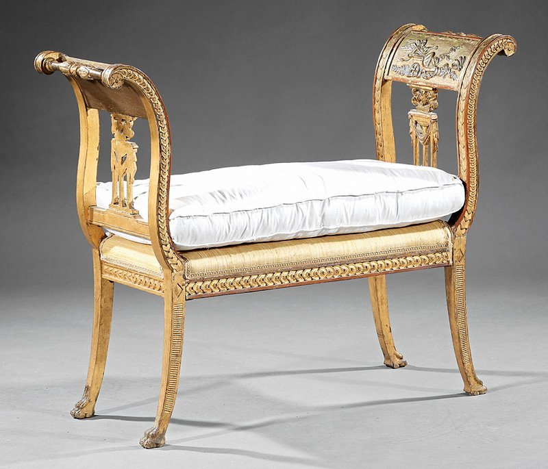Italian Neoclassical-Style Carved Giltwood Bench