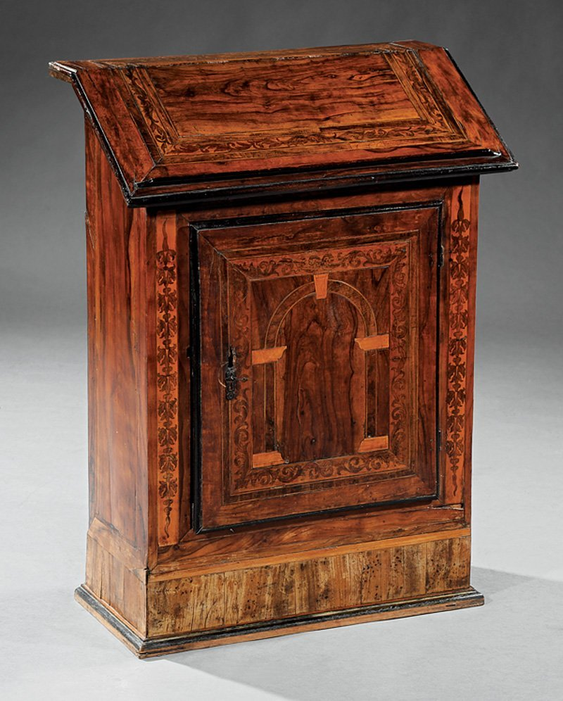 Italian Marquetry and Walnut Bookstand