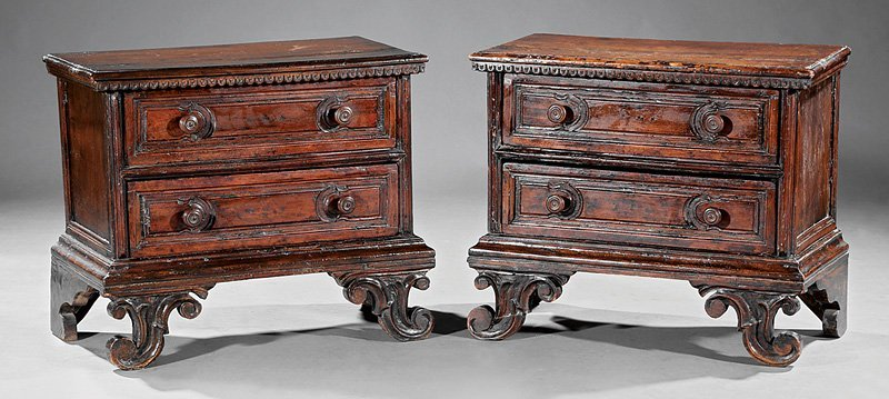 Italian Carved Walnut Commodes