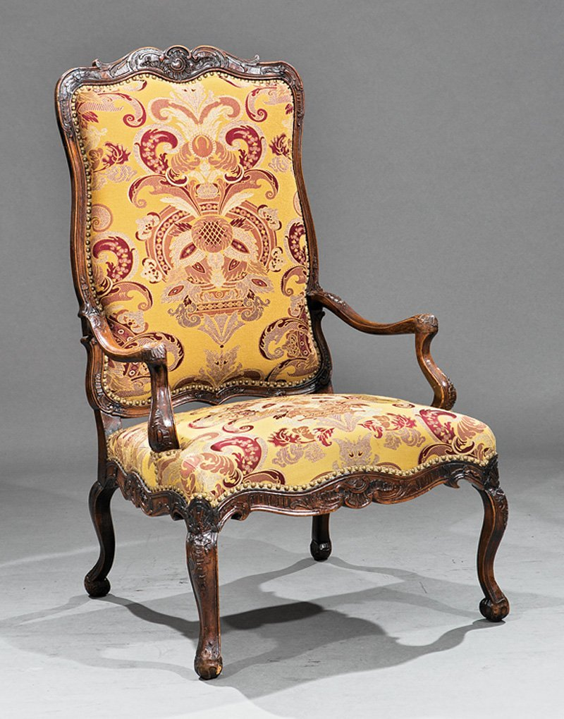 Provincial Louis XV-Style Carved Walnut Fauteuil