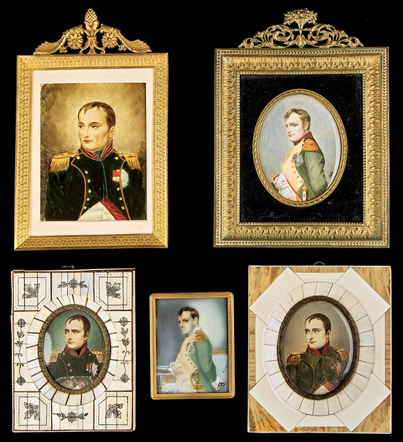 Five Portrait Miniatures of Napoleon in Uniform