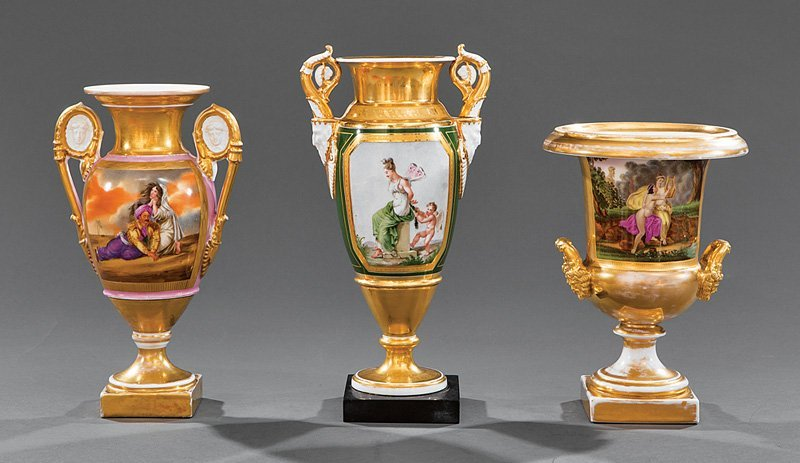 Three Paris Porcelain Gilt-Decorated Urns