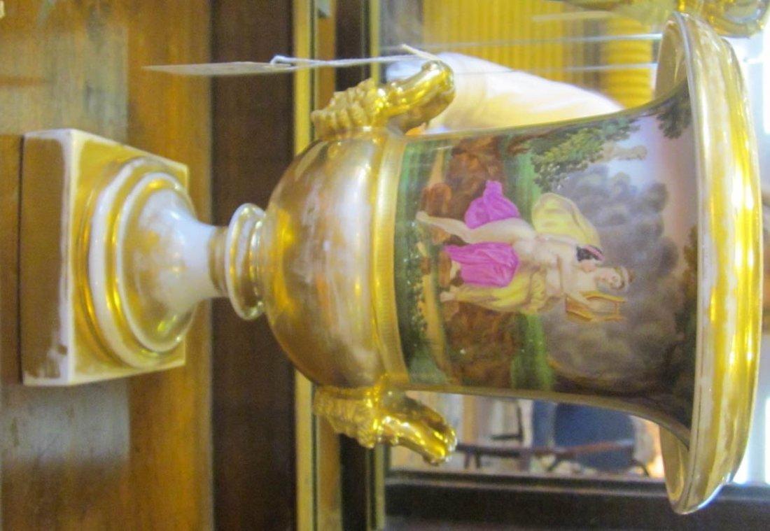 Three Paris Porcelain Gilt-Decorated Urns - 3