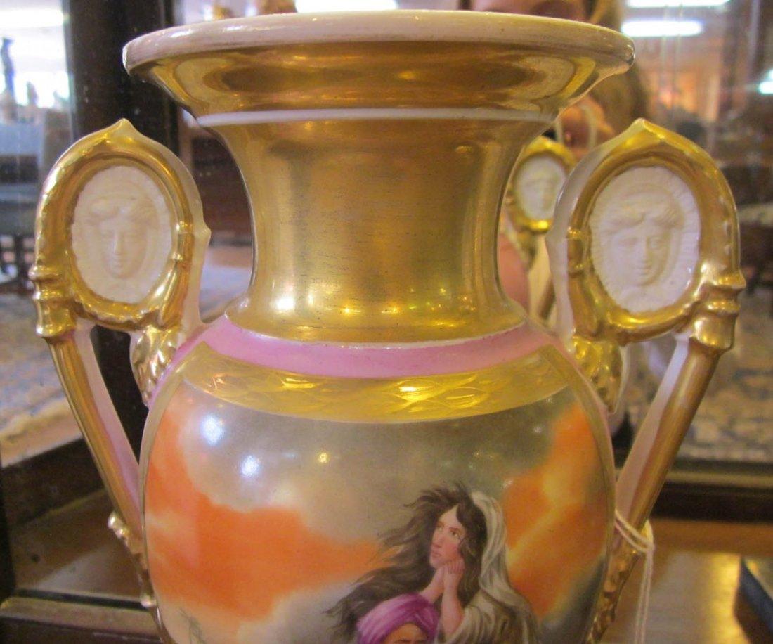 Three Paris Porcelain Gilt-Decorated Urns - 6