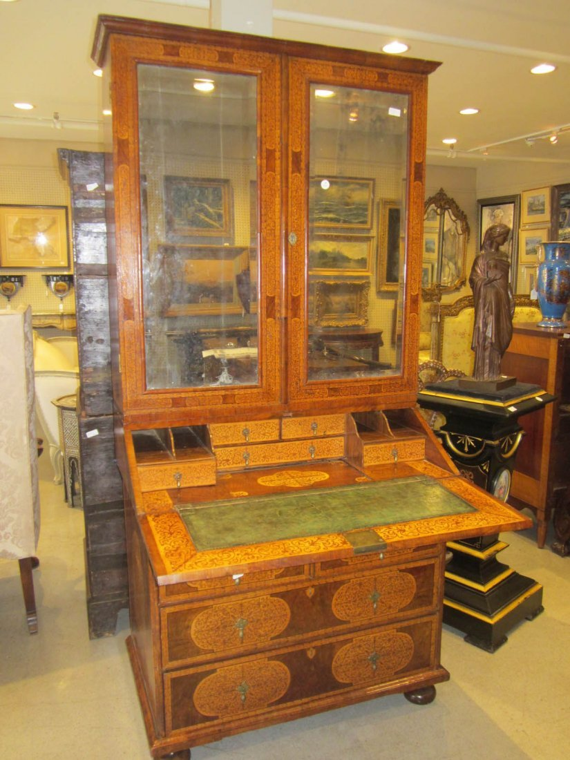 Seaweed Marquetry, Burled Walnut Secretary Bookcase - 5