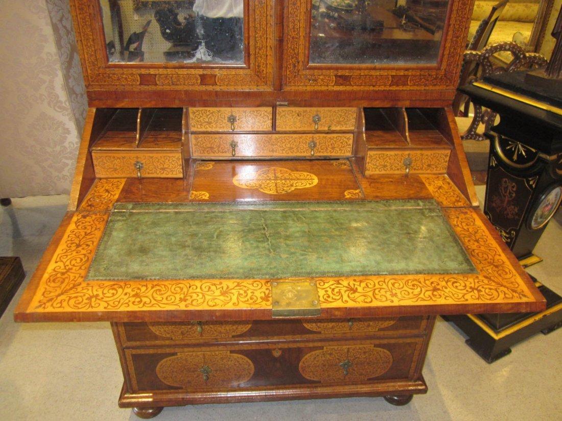 Seaweed Marquetry, Burled Walnut Secretary Bookcase - 6