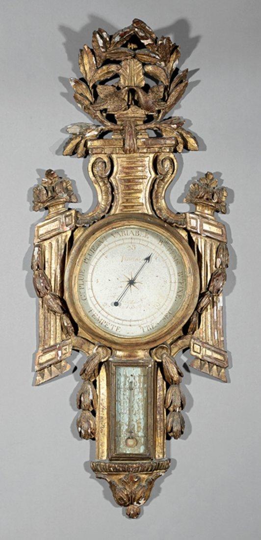 Louis XVI Carved and Giltwood Barometer