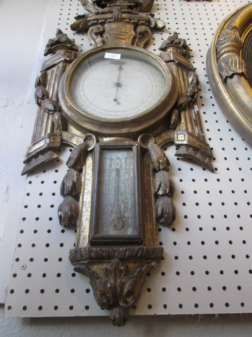 Louis XVI Carved and Giltwood Barometer - 3