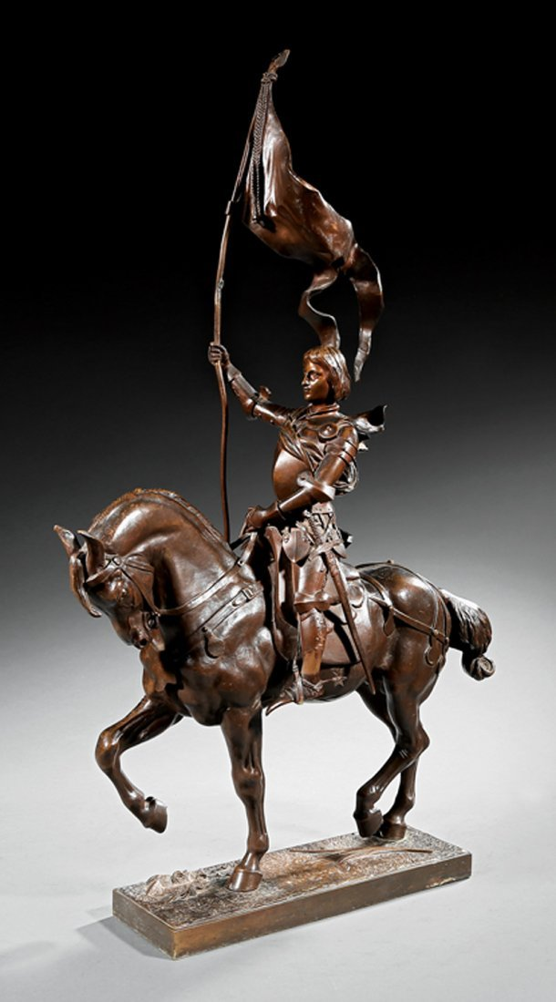 Continental Bronze Figure of Joan of Arc on a Horse